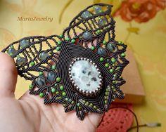 Unique micro-macrame necklace bohemian necklace by MartaJewelry