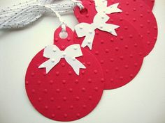 Christmas Gift Tags Red and White Embossed by papergirlstudios, $8.50