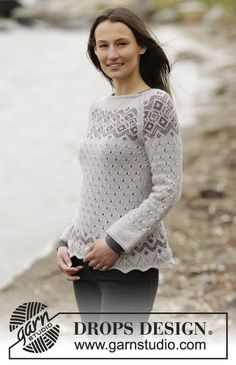 "Knitted DROPS jumper with lace pattern, Nordic pattern and raglan in ""Lima"". Size: S - XXXL. ~ DROPS Design"