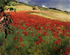 BRUCE, William Blair  Canadian painter (b. 1859, Hamilton, d. 1906, Stockholm)  Landscape with Poppies 1887 Oil on canvas, 27 x 34 cm Art Gallery of Ontario, Toronto