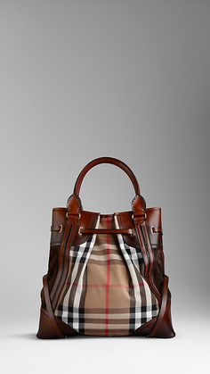 Burberry - LARGE BRIDLE HOUSE CHECK WHIPSTITCH TOTE BAG