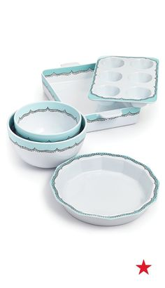 Bring a little style to your countertop with Martha Stewart's Whim ceramic bakeware set. That pastel blue trim is so cute — you'll definitely want to put those tasty treats on full display