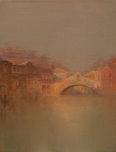Venice, mysterious and obscure rather than touristy and mondane. Ancient stones of the Ponte dei Sospiri nearly asleep amidst the weedy waters of the Grand Canal are soaking in the last rays of the dusk. The faded bronze-coloured skies and terracotta walls are reflected in the dull waters of the Lethean Stream. The artist's symbolic colouration invokes the memories of Turner's extravaganza. In her works she melts warm enamel glaze with coral pearl-white and ivory amber with gold um...