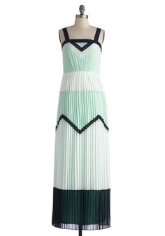 Mint for Each Other Dress - Chiffon, Long, Green, White, Pleats, Maxi, Tank top (2 thick straps), Better, Mint, Party, Daytime Party, Pastel, Colorblocking, Summer