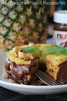 Grilled Pineapple with Nutella and Macadamia Nuts