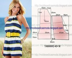 Portuguese site with illustration showing how to draft this easy romper/ Moldes Moda por Medida Diy Clothing, Clothing Patterns, Dress Patterns, Sewing Patterns, Sewing Pants, Sewing Clothes, Women's Clothes, Fashion Sewing, Diy Fashion