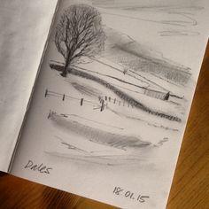 Yorkshire Dales misty morning sketch.