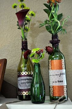Wine bottles as vases with personalized tags