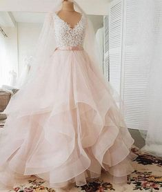 f7d0724661a09 Elegant Tulle V Neck Long Lace Ruffles Evening Dress, Sweet 16 Prom Dress