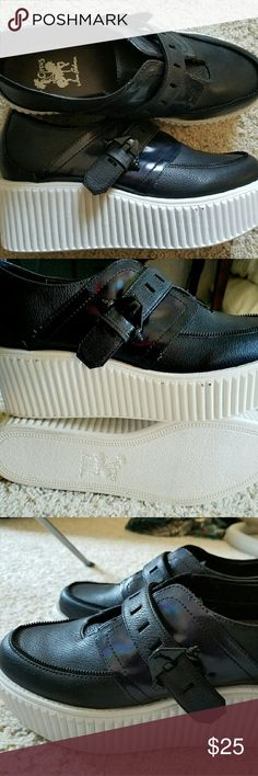 Platform Sneakers Platform sneakers/creepers. Never worn. Buckles Anda shiny black material under the Buckles. Size says 8 but would fit 8 or 8.5. Circus by Sam Edelman Shoes