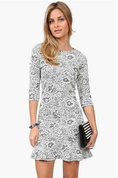 Flower lace dress would look cute with knit tights!