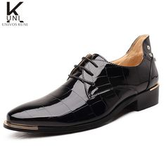 YLY Mens Burnished Smooth PU Leather Shoes Lace Up Square Texture Formal Business Lined Oxfords Breathable