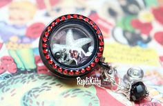 Pin Up Mermaid floating charm set!  Pearl starfish floating charm plate with bling anchor, pearls and gem dangle!  Black and red bling locket badge!  No need for a lanyard or chain!  Just clip on and go!  Can be customized and personalized!  Handmade in USA! www,replikitty.etsy.com #mermaid #pinup #black #vintage #pearl #seastar #starfish #ocean #marine #badge #reel #locket #pearls #star #dangle #locket #moving #necklace #charms #floatingcharm #nametag #tag #lanyard #owl #bettie