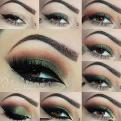Smokey shimmery green tutorial by @makeupbymels using by Lavish Palette for shad