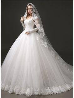 Ball Gown Straps Beaded Lace Wedding Dress - m.tbdress.com