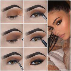 Eye Makeup Steps, Eyebrow Makeup, Skin Makeup, Eyeshadow Makeup, How To Do Eyeshadow, Applying Eyeshadow, Matte Eye Makeup, Fall Eye Makeup, Sexy Eye Makeup