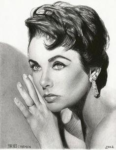 Elizabeth Taylor 6 by carmenharada Portrait Au Crayon, Pencil Portrait, Portrait Art, Realistic Pencil Drawings, Amazing Drawings, Cool Drawings, Celebrity Drawings, Celebrity Portraits, Drawing Cartoon Faces