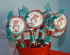 Cat in the Hat Party Favors happy birthday dr seuss by POPSnMORE, $16.00