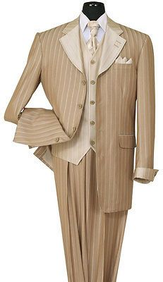 BROWN 4 BUTTON 3 PIECE GANGSTER PINSTRIPE ZOOT SUIT 36 INCH JACKET PLEATED PANTS