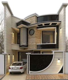 Stunning Modern Dream House Exterior Design Ideas – Page 17 – Afshin Decor Unique House Design, House Front Design, Minimalist House Design, Cool House Designs, Bungalow House Design, Modern House Plans, Modern Floor Plans, Home Modern, Modern Homes