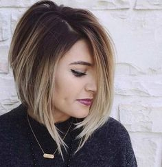 Short A-Line Bob Hairstyle with Blonde Balayage Highlights