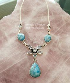 """Mermaid's Treasure"" Beautiful Larimar Jewelry  #larimar #crystals #gemstones #healing #dolphin #mermaid"