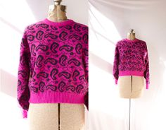 Vintage 1980's Sweater Pink and Black Paisley