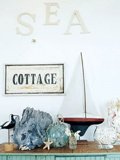 Blue and White Beach Cottage with Recycled Bargains & Seashells – Beach Bliss Living - Decorating and Lifestyle Blog