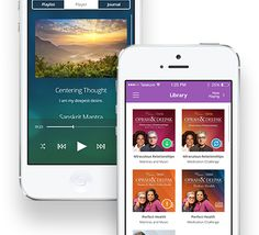 """Mobile Meditation App"" from Chopra Meditation Center. Enjoy your Oprah & Deepak 21-day meditations on all your devices, with or without an internet connection from the convenience of your iPhone, iPad, and Android devices. Listen to the meditations in your library, write in your meditation journal, and stream or download all meditation products anytime, anywhere. To start meditating anywhere, click the pic."