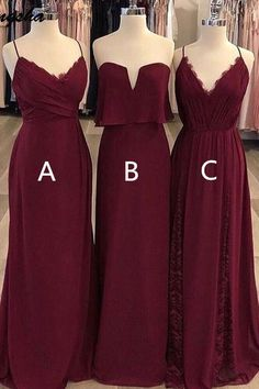"""✽✽✽Attention Please! ✽✽✽ When you purchase the dress, we will email to you within 24 hours to confirm the order with you, please check and reply in time! It's very important to me. Thank you for your cooperation! ✽✽✽Attention Please! ✽✽✽ Our Dresses are all custom made, so you order them in any size and color, and you can get your dress within 15-25 days after your payment.Rush order: within 15 days, please add $30.00 when you order it.Customers Need To Know :All of the dresses are not """"on the s Burgundy Bridesmaid Dresses Long, Mismatched Bridesmaid Dresses, Burgundy Dress, Wedding Bridesmaid Dresses, Wedding Party Dresses, Halloween Bridesmaid Dress, Burgundy Wedding Shoes, Wine Color Bridesmaid Dress, Inexpensive Bridesmaid Dresses"""