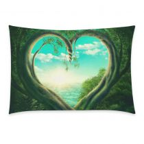 InterestPrint Green Heart Tree Forest Sky Sea Pillowcase Standard Size 20 x 30 Inches One Side for Couch Bed - Two Trees Forest Forming A Heart Cloud Beach Pillow Cases Cover Set Pet Shams Decorative Two Trees, Heart Tree, Sky Sea, Tree Forest, Beach Pillow, Pillow Cases, Tapestry, Clouds, Throw Pillows