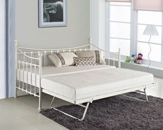 Cheap New Versailles French Metal Day Bed With FREE Guest Trundle Black White | eBay