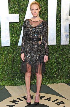 Kate Bosworth embellished long sleeved black dress with sheer details #SRfashion