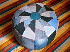 denim pouf | 25 Unusual Ways To Repurpose Denim via Brit + Co.