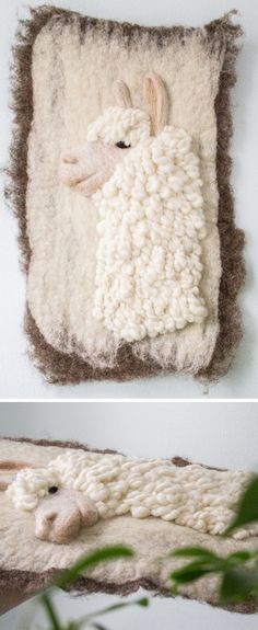 Felted art by Ernie and Irene // felt art // llama art New Crafts, Crafts For Kids, Arts And Crafts, Llamas, Wet Felting, Needle Felting, Alpaca Rug, Finding A New Hobby, Stitch Witchery