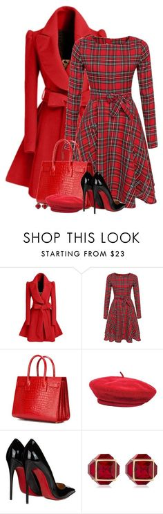 """""""Untitled #6108"""" by barbarapoole ❤ liked on Polyvore featuring WithChic, Yves Saint Laurent, Brixton, Christian Louboutin and Vita Fede"""