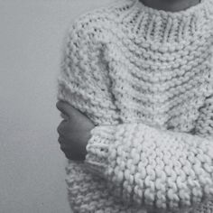 ♥ chunky knitted cream pullover idea in garter stitch perfect in the chunky singles