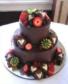 Chocolate.  Strawberry. Kiwi. Blueberry cake