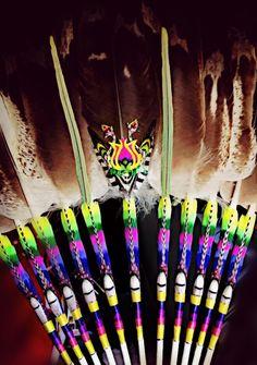 Work by Ray G flat threadwork on prayer fan Native American Church, Native American Artwork, Feather Crafts, Feather Art, Jingle Dress, Powwow Regalia, Dream Catcher Native American, Native Design, Candle Jars