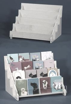 Four level shelf in plywood for cards and gift items.