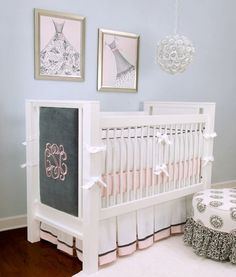 This is so sweet for a nursery. I love the mongramming on the side of the baby bed. Precious.