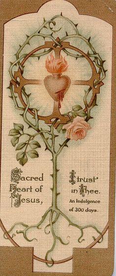 .vintage Sacred Heart card