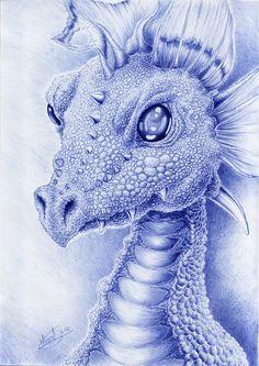 Dragon with bic pen by Berilia.deviantart.com on @deviantART