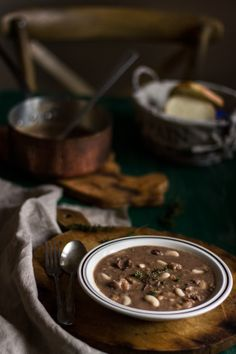 Chestnut soup with cannellini beans