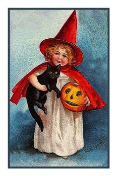 Halloween Young Girl in Witch Costume with a Black Cat and Pumpkin Counted Cross Stitch or Counted Needlepoint Pattern