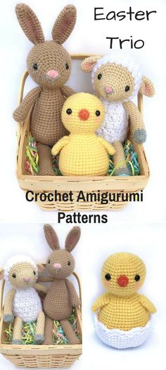 This little Bunny, Chick and Lamb make the perfect Easter Trio! They are sweet crocheted amigurumi dolls that would love to visit your house this Easter or be tucked into an Easter Basket. You can create your own Easter Trio, the Bunny, Chick and Lamb with this downloadable pattern. #crochet #amigurumi #crochetdoll #ad #amigurumidoll #amigurumipattern #easter #bunny #chick #lamb #easterbasket #instantdownload