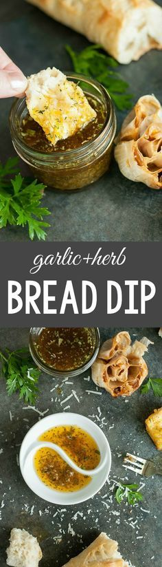 Olive Oil and Herb Bread Dip Just like your favorite Italian restaurant. This copycat olive oil garlic and herb bread dip will rock your socks!Just like your favorite Italian restaurant. This copycat olive oil garlic and herb bread dip Appetizer Dips, Yummy Appetizers, Appetizer Recipes, Dinner Recipes, Party Appetizers, Avacado Appetizers, Prociutto Appetizers, Mexican Appetizers, Halloween Appetizers