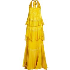 Roberto Cavalli Silk Gown (€1.607) ❤ liked on Polyvore featuring dresses, gowns, yellow, print gown, yellow gown, print evening gowns, yellow evening dress and silk dress