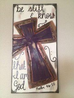 Be Still & Know that I am God Purple Textured Cross canvas. $38.00, via Etsy.