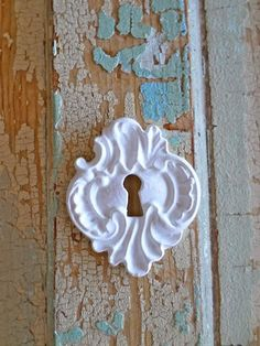 Shabby Chic Vintage Keyhole is approx. 2 1/8 x 1 3/4  OUR APPLIQUES ARE EASY TO USE ~ JUST GLUE ON ~ with any all purpose glue. Our appliques are